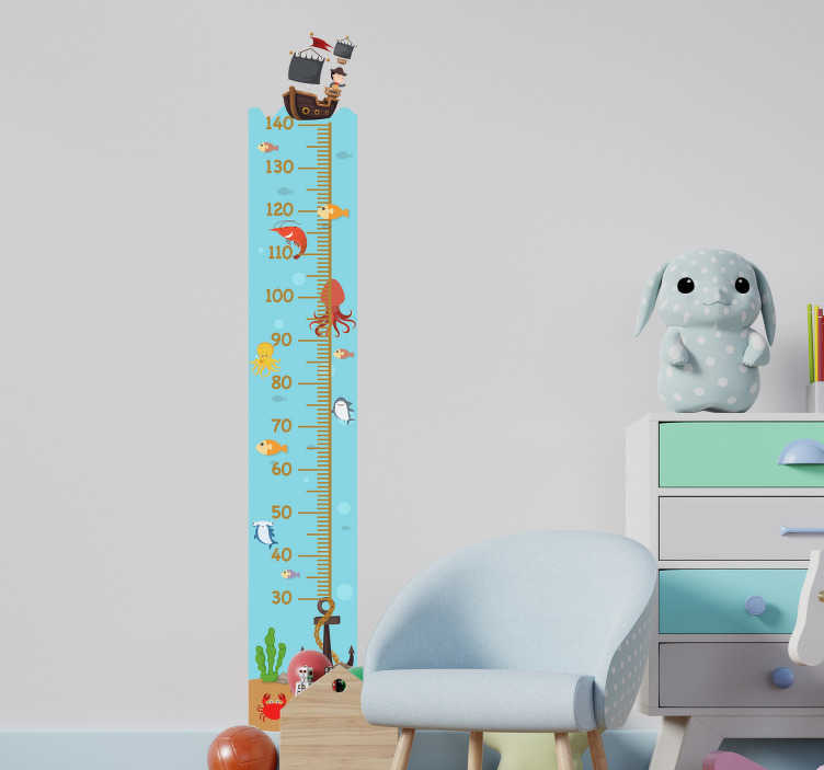 TenStickers. Undersea height chart height chart decal. A height chat wall decal for kids with a lot of undersea features on it like star fish, boat and sailor and more. Easy to apply.
