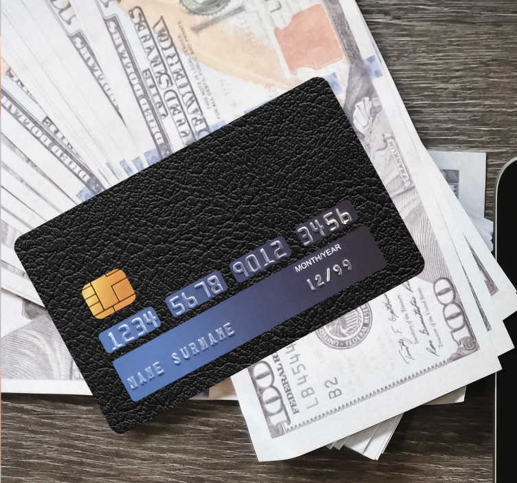 TenStickers. Black leader credit card sticker. Decorative black leader bank sticker with a standard size measurement to fit the surface of debit and credit card . Easy to apply adhesive vinyl.