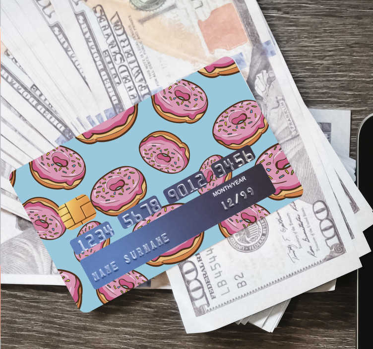 TenStickers. Delicious Donuts credit card sticker. Decorative sticker vinyl for bank credit card designed with donuts. The design is easy to apply with the reveal area of the account details.