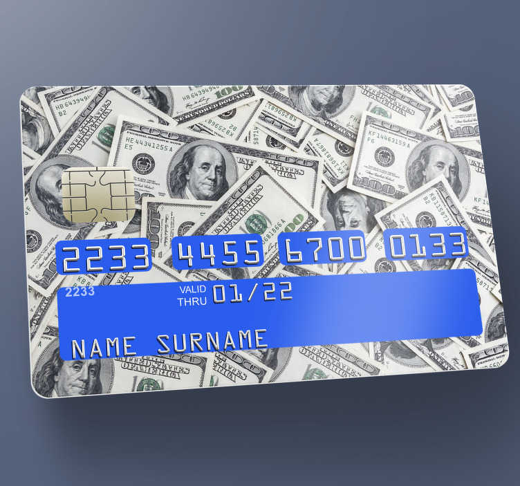 TenStickers. dollars credit card sticker. Decorate the surface of your card with this dollar debit card sticker that has currency design on it in multiple . Easy to apply.