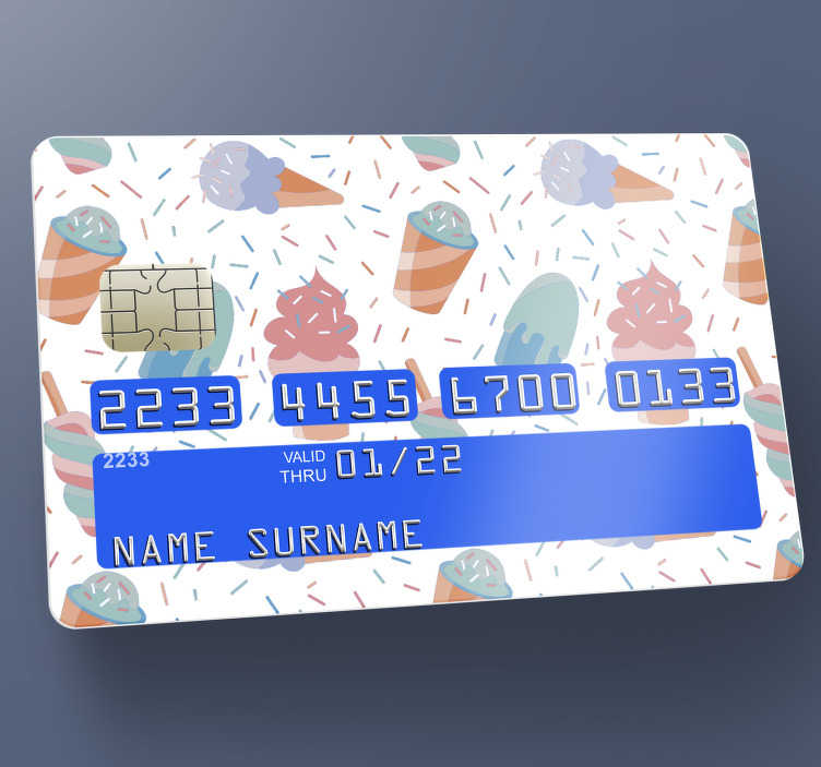 TenStickers. ice cream pattern credit card sticker. Decorate the surface of your credit card with this bank credit card vinyl sticker of an ice cream pattern on beautiful background.