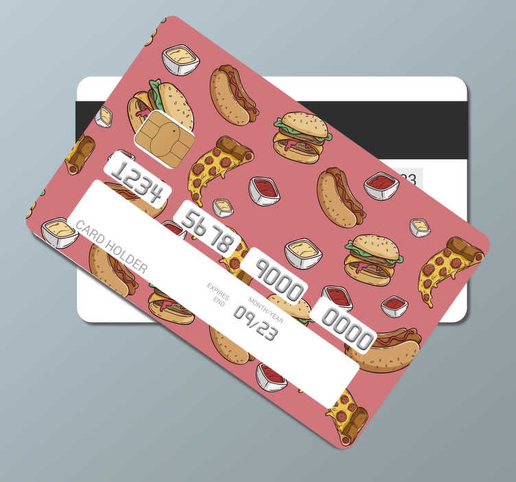 TenStickers. junk food pattern credit card decal. Decorative bank credit card vinyl decal to decorate the surface of your card. Its a junk food design and you will love it appearance when applied.