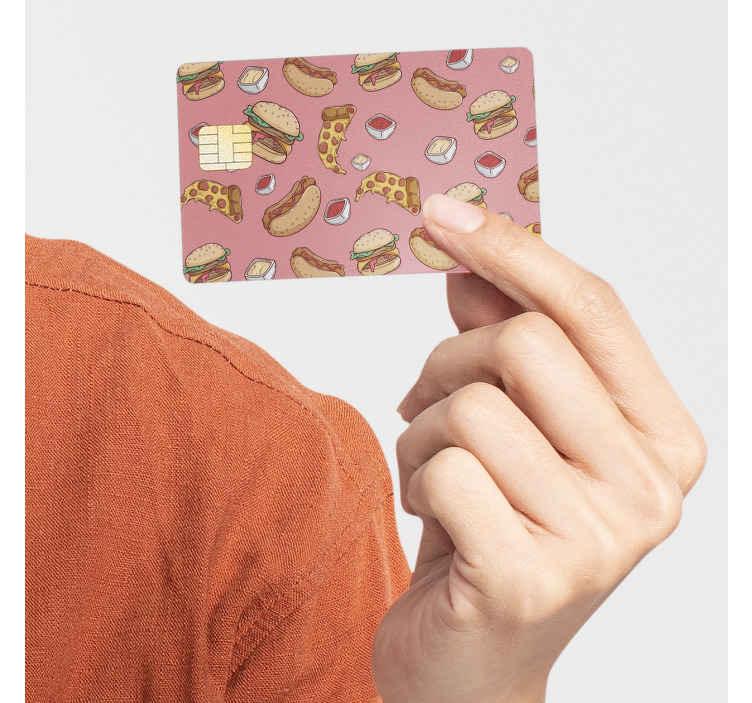 TenStickers. Vinil autocolante decorativo para cartão multibanco Fast food. Decore a superfície do seu cartão de crédito/débito com este autocolante para cartão multibanco com um padrão colorido de fast food.