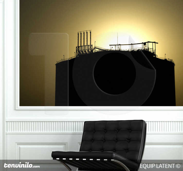 TenStickers. Sticker fabriek zonsondergang. Muurfoto van een fabriek met op de achtergrond de zonsondergang. Een prachtige muursticker van een leuke foto met contrast.