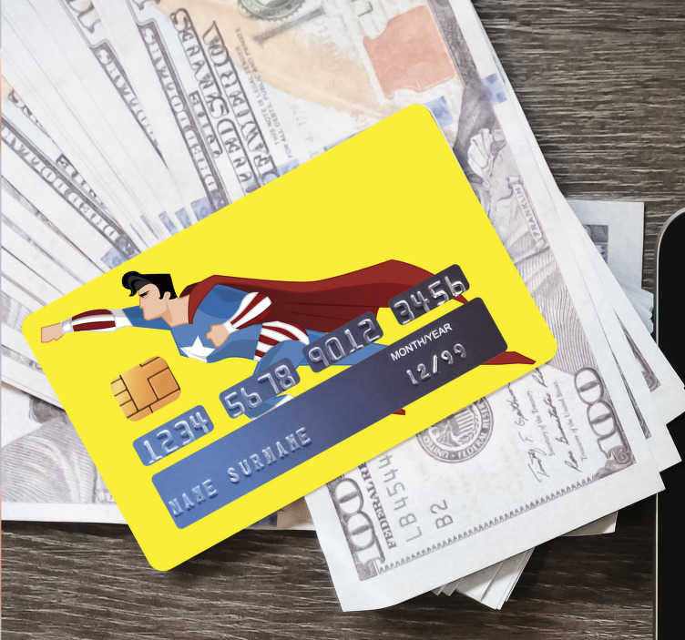 TenStickers. super man credit card sticker. Decorate any bank credit card with our amazing superman design that has  a spider man on it flying . Easy to apply adhesive vinyl.