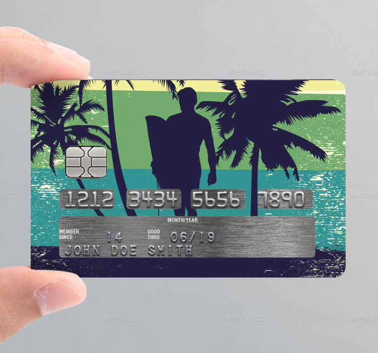 TenStickers. surf camp credit card decal. Decorative bank credit card vinyl decal designed with the graphic appearance of a surfer in the camp . Buy it online and we will deliver to you.