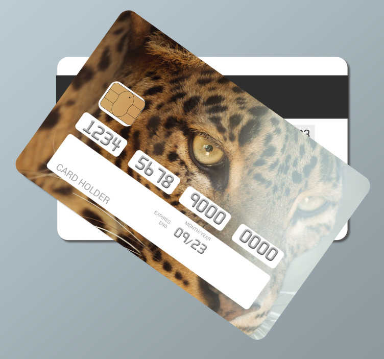 TenStickers. the leopard credit card sticker. Buy our decorative bank card vinyl decal design created with the huge face appearance of a leopard. Easy to apply vinyl with high quality.