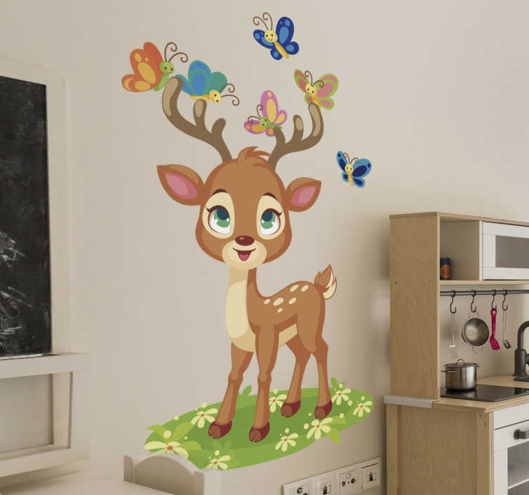 TenStickers. Animated deer illustration wall art. Decorative wall sticker design of a deer with butterflies in pretty colours . The design is ideal for the wall space of children.