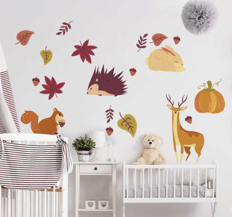 TenStickers. Autumn animals & flowers wild animal sticker. Easy to apply and declarative wall sticker designed with autumn animals in pretty colours and you can apply it in the manner you want.