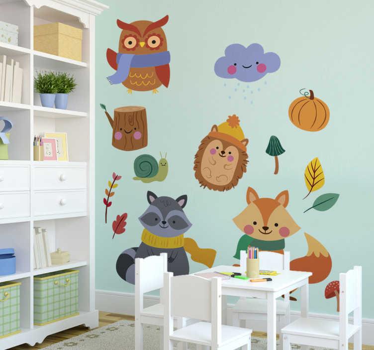 TenStickers. Fiori autunnali e animali adesivi animali selvatici. Bellissimo e decorativo adesivo da parete per bambini con diversi animali autunnali. Acquistalo nella misura che preferisci.
