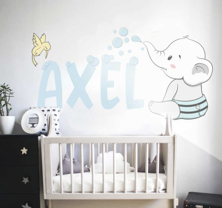 TenStickers. Baby elephant illustration wall art. Decorative personalisable illustrative wall sticker of a baby. It can be customized with a name on it. Easy to apply on any flat surface.