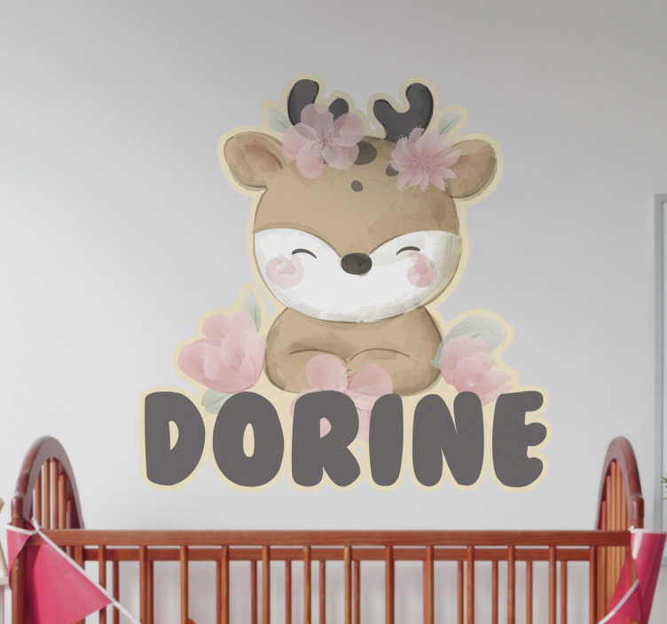 TenStickers. Cute personalized deer wild animal sticker. Personalisable decorative wall sticker for children with the design of a baby deer on it. Buy it in the size that you want.