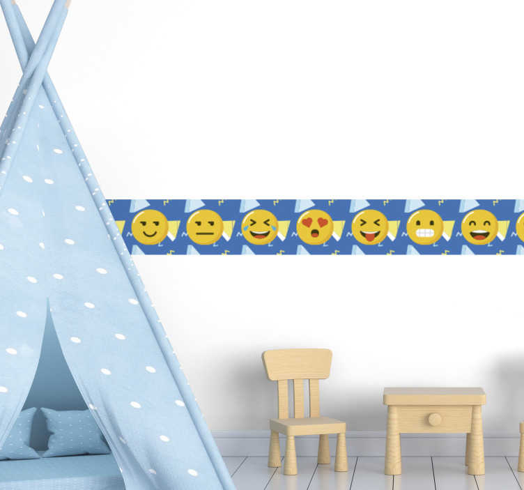 TenStickers. Emoji border sticker. Emoji wall boarder sticker  to decorate any wall surface in the home. Chose it in the size of preference and it is easy to apply.