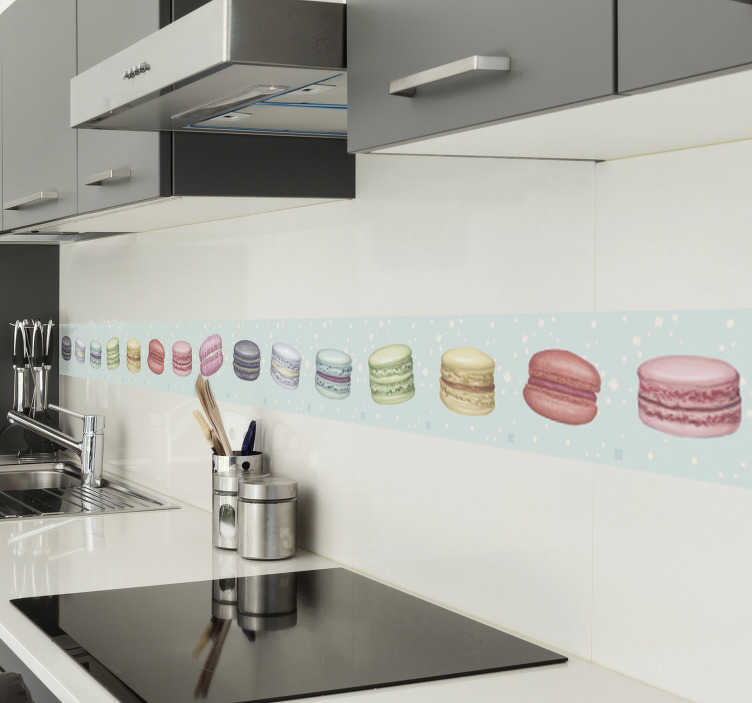 TenStickers. Multi-coloured macaroons border sticker. Cuisine wall boarder sticker design for the kitchen wall created with macaroons in multicolour to define the surface. Easy to apply.