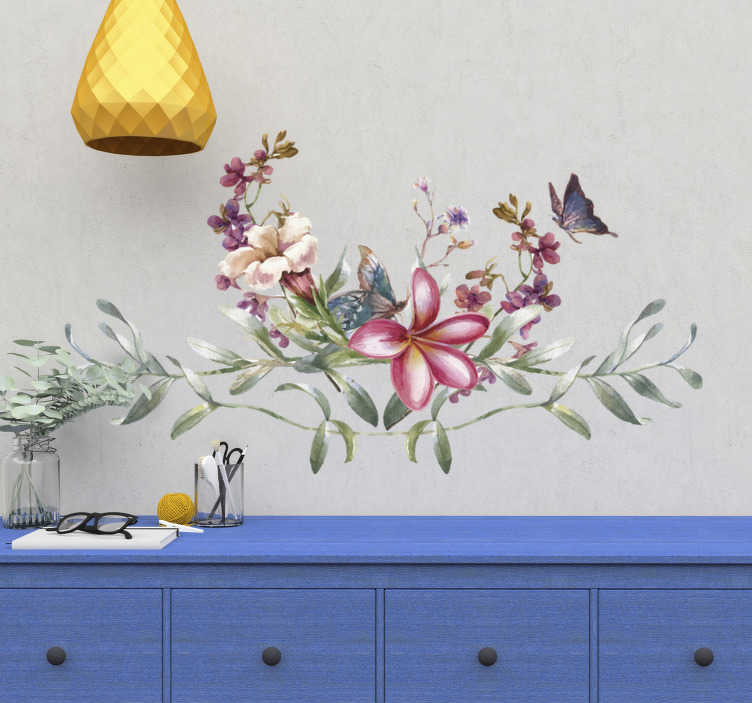 TenStickers. Watercolour butterfly & flowers flower wall decal. Flower plant decal design in lovely colour with butterflies on it. Choose it in the available sizes we have and enjoy a new space with it.