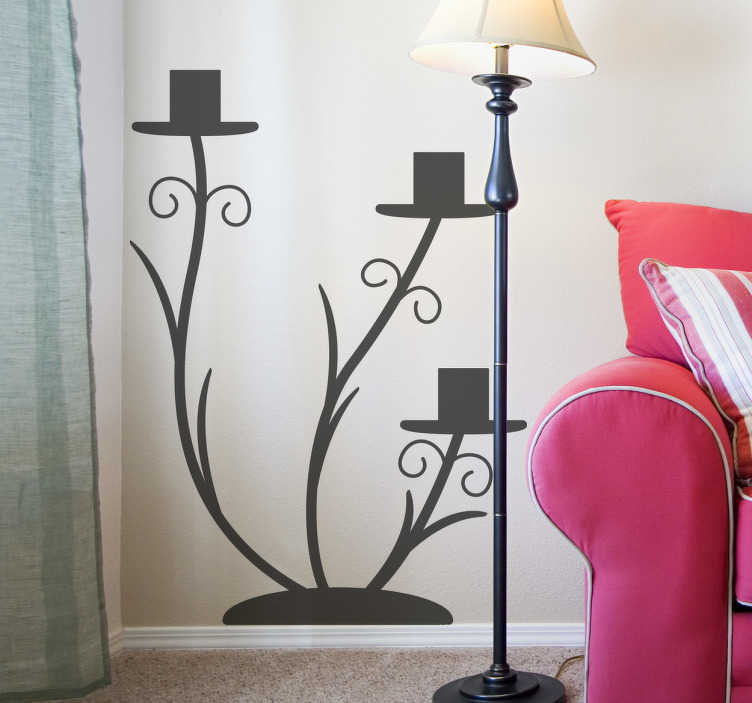 TenStickers. Decorative Candle Holder Sticker. A decorative sticker of a three-tiered candle holder. Perfect to add a stylish touch to your living or dining room.
