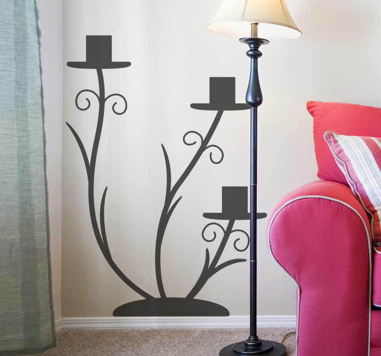 TenStickers. Eleganter Kerzenhalter Aufkleber. Wählen Sie die passende Größe und Ihre Lieblingsfarbe aus und verleihen Sie Ihrer tristen Wand mit diesem Kerzenständer Wandtattoo einen neuen Look.