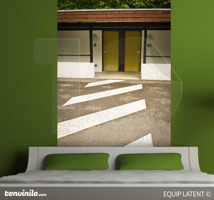 TenStickers. Motel Room View Wall Sticker. A wall sticker of an authentic photography by Latent Estudi. Image decal of a typical motel room found near highways in America.