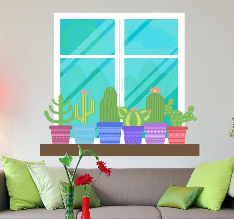 Tenstickers. Dekorativa fönstret på en trädgårdsmiljömägare. Dekorera dina väggar med ett klistermärke i ett fönster med några kaktusar till ditt vardagsrum, sovrum och barnrum. Storlek justerbara till dina behov. Snabb leverans.