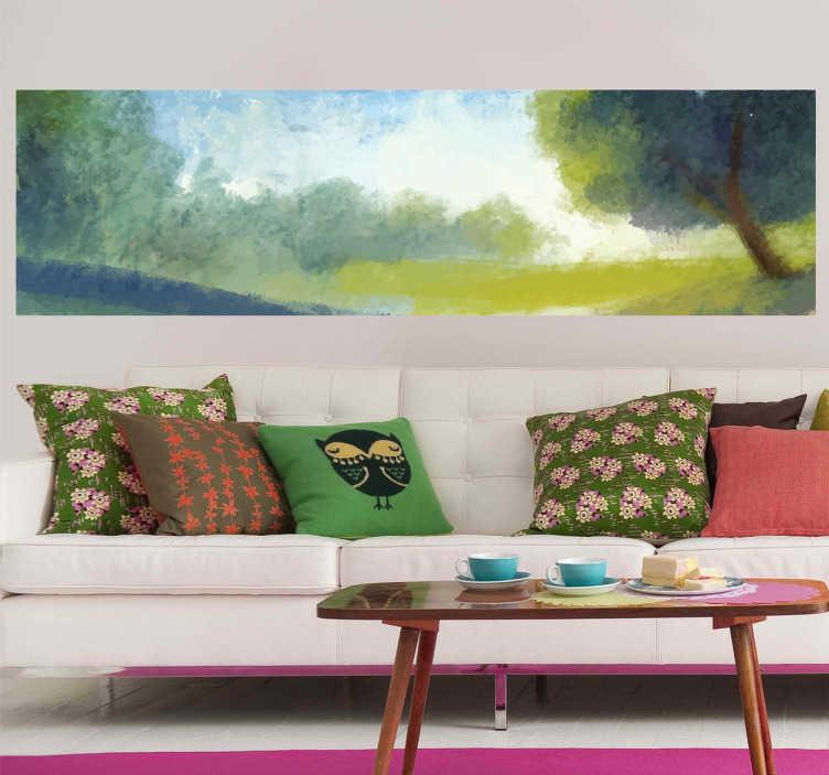 TenStickers. Wandtattoo Grünes Flachland. Gestalten Sie Ihr Zuhause mit diesem schönen Wandtattoo einer flachen grünen Landschaft und bewölktem Himmel.