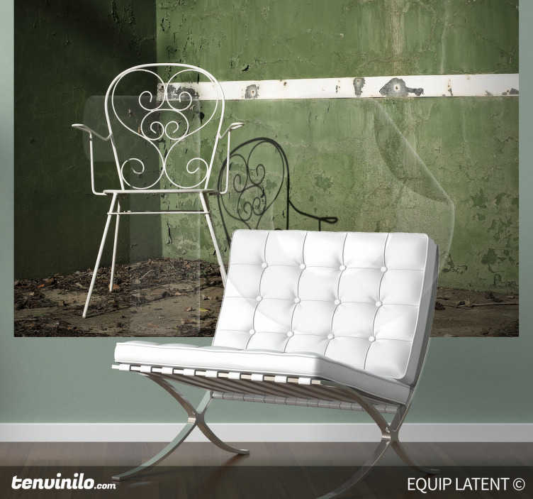 TenStickers. Chair Pediment Track Wall Mural. Photo Mural -Image of a wrought iron chair in a squash court.Latent Estudi Photography for your home or business.