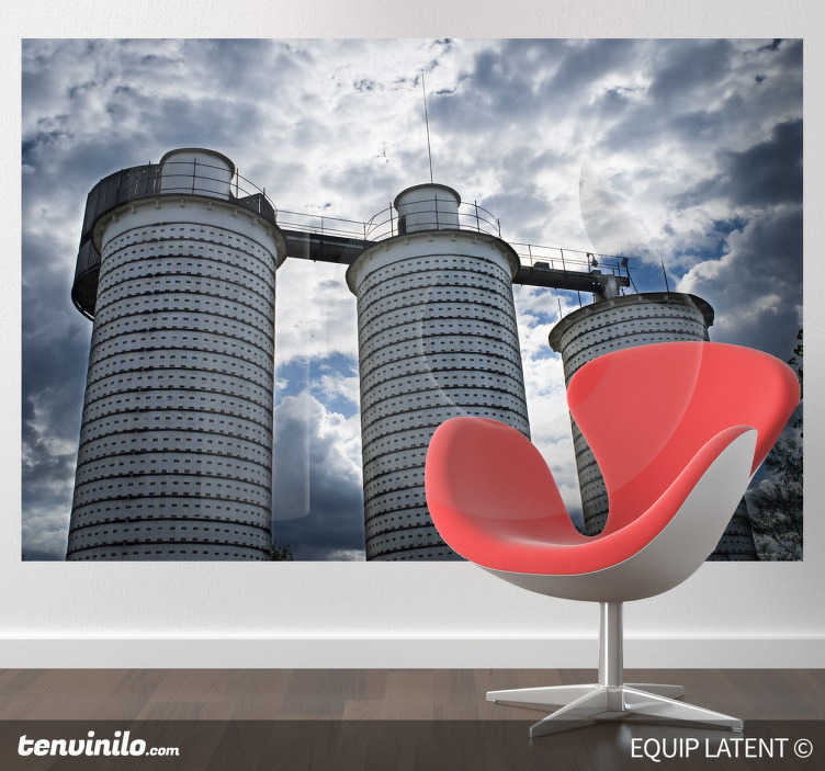 TenStickers. Industrial Towers Wall Mural. Photo Mural - Factory shot of three large towers under a cloudy sky. Ideal feature for decorating your home or business.