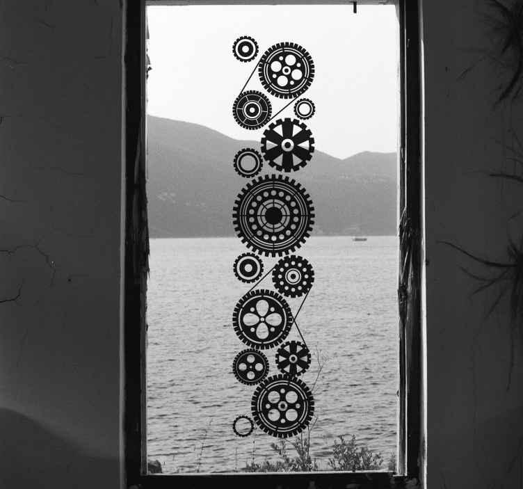 TenStickers. Wandaufkleber Fabrik Fenster. Foto Wandaufkleber - Foto einer leerstehenden Fabrik. Dekoriere deine Zimmer und Möbel und schaffe eine industrielle Atmosphäre.