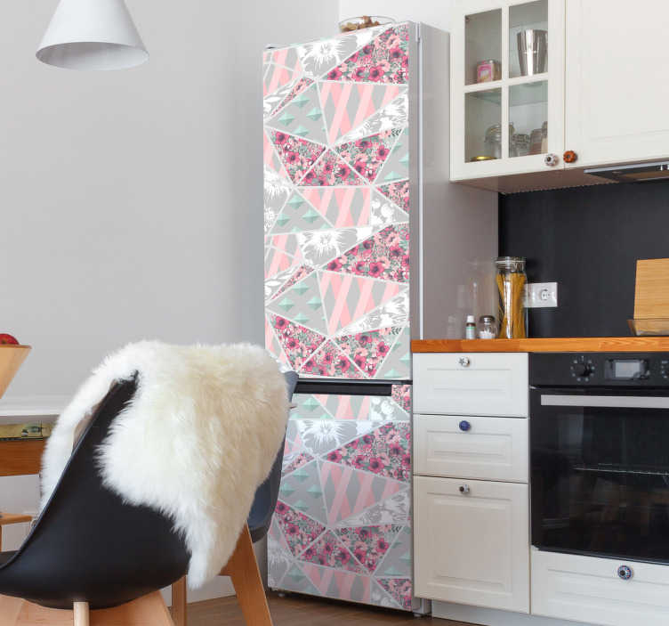 TenStickers. Abstract patchwork pattern fridge wrap. Decorate the fridge surface with our abstract patchwork pattern sticker to wrap it whole surface.  An amazing design that comes in customisable size.