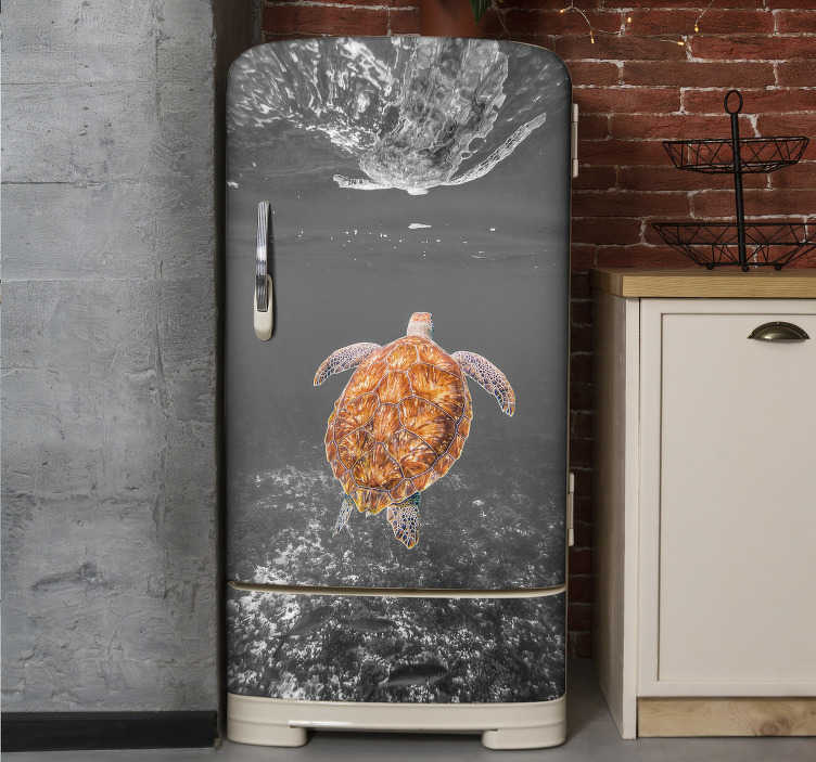 TenStickers. Black and white turtle swimming fridge wrap. Buy our decorative vinyl fridge wrap sticker with the design of black and white turtle swimming. Buy it in the size that matches the surface you want.