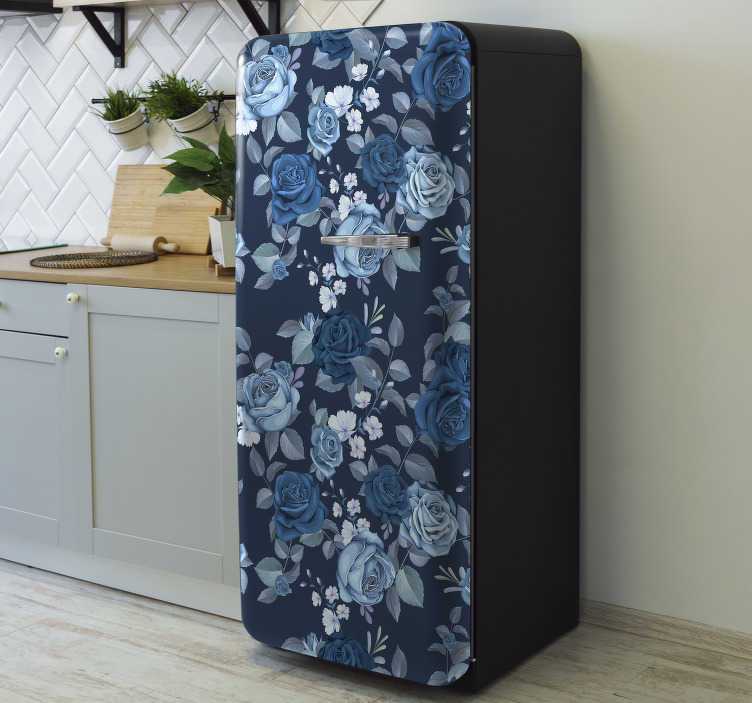 TenStickers. Blue roses fridge wrap decal. Decorative vinyl fridge wrap sticker with the design of blue roses. Buy it in any size that matches the size of your fridge surface.
