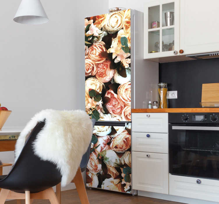 TenStickers. Bouquet of roses fridge wrap. Decorative fridge vinyl wrap design of  Bouquet of roses to cover the whole surface of a fridge . Chose it in the size that you want.