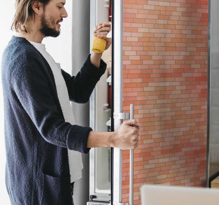 TenStickers. Enveloppe de réfrigérateur de texture de brique. Autocollant décoratif de porte de réfrigérateur en sticker avec la conception de la texture des briques pour envelopper toute la surface. L'acheter dans n'importe quelle taille qui mesure une surface de réfrigérateur.
