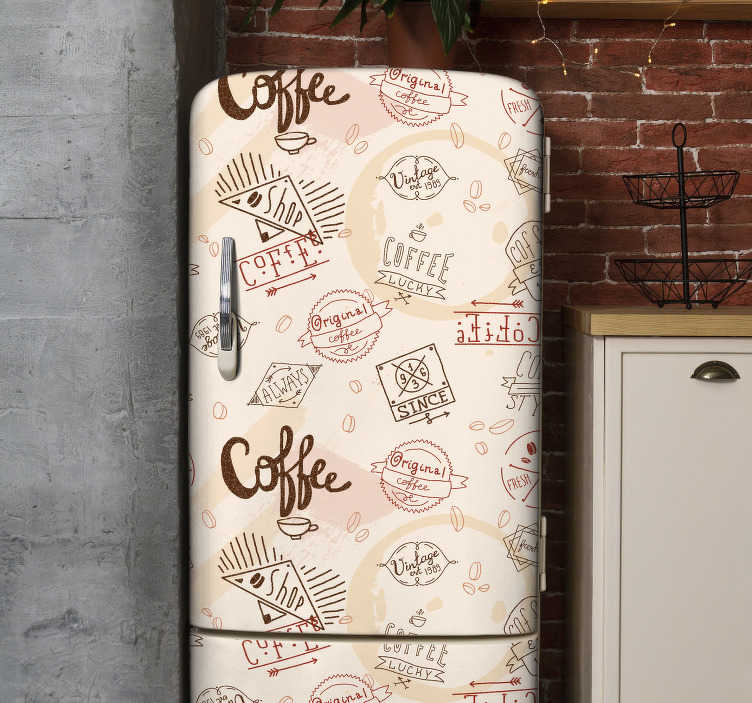 TenStickers. Coffee wrap fridge wrap. Buy our decorative coffee wrap fridge sticker to cover the surface of it. It is designed with the theme for coffee and customisable dimension.