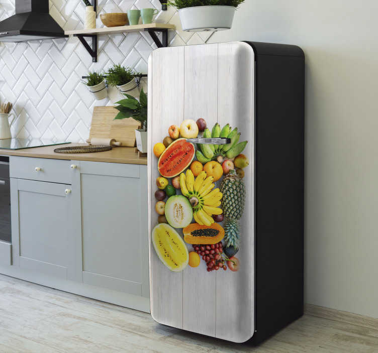 TenStickers. Colorful agriculture fridge wrap. Add some colours to a kitchen space with this fridges sticker designed with varieties of agricultural fruits to decorate the door of a fridge surface.
