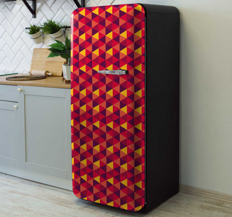 TenStickers. Colorful and big Triangles fridge wrap. Decorative fridge vinyl sticker with the design of triangular colorful geometries. It is customisable to fit any size of a fridge surface.