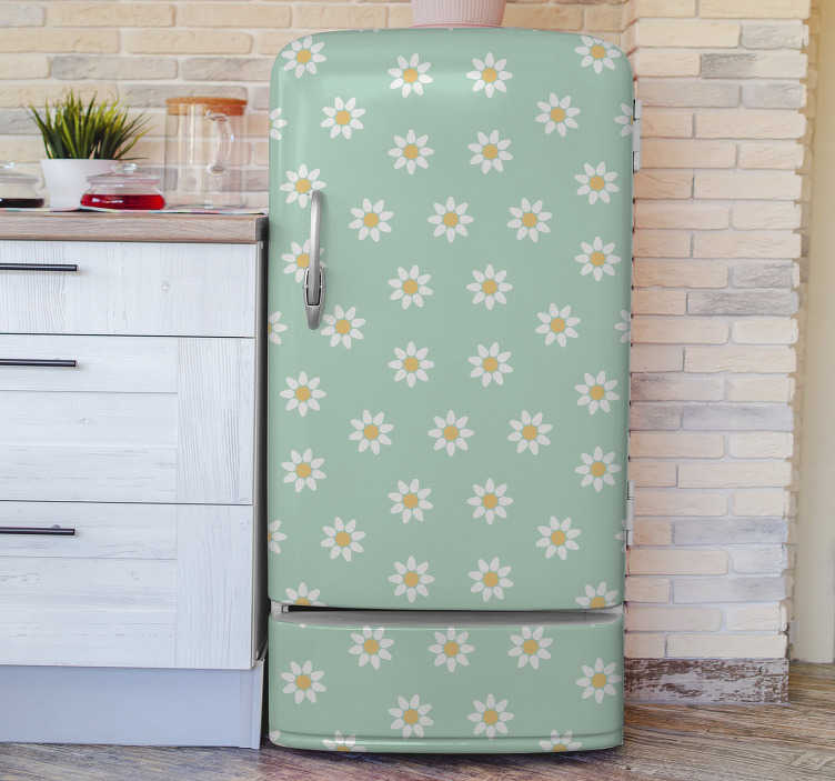 TenStickers. Daisy flower fridge wrap. Decorative daisies flower fridge wrap sticker to beautify the fridge surface and transform the kitchen space. Buy it in the best size that fits.