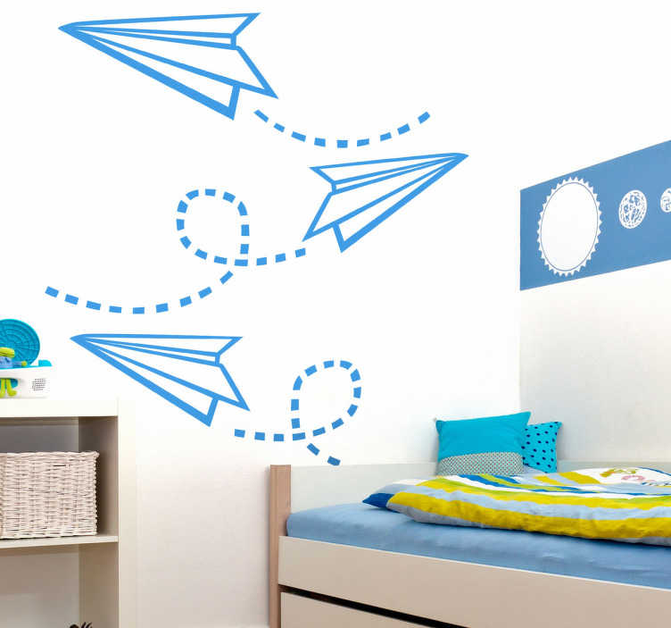 TenStickers. Paper Planes Kids Sticker. A creative wall sticker of flying paper planes! Perfect decal to decorate your child's room. Available in various sizes and 50 different colours.