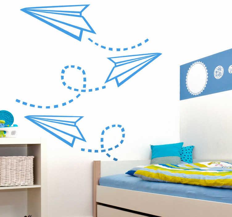 TenStickers. 纸飞机孩子贴纸. 飞纸飞机的创意墙贴!完美的贴花来装饰你孩子的房间。有各种尺寸和50种不同颜色可供选择。
