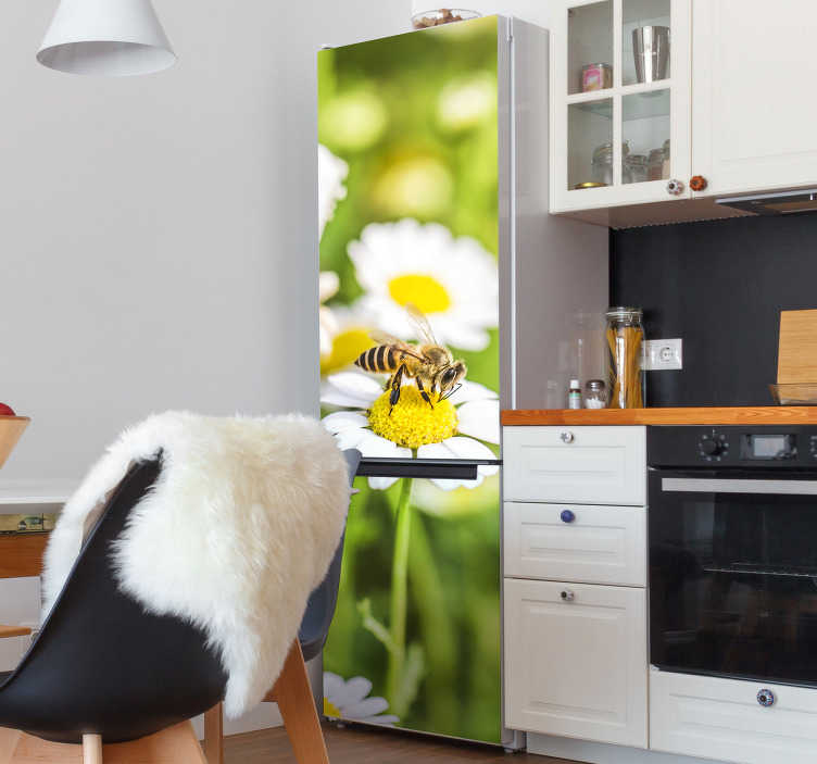 TenStickers. Flowers field fridge wrap. Decorate the door surface of a fridge with this flower field sticker. It is designed to cover the whole surface in customisable size.