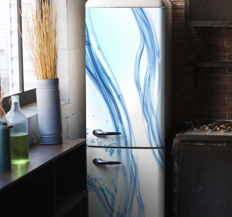 TenStickers. Fresh water fridge wrap. Decorative fridge wrap vinyl sticker with the beautiful design of fresh water. It is customizable to match any desired surface.