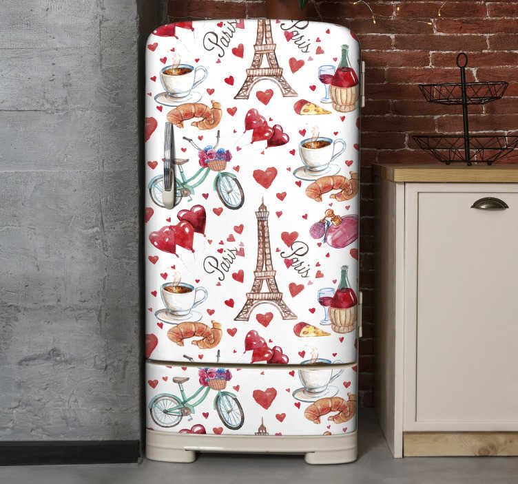 Tenstickers. Rakkaus pariisin jääkaapin kääre. Osta koristeellinen jääkaapin oven kääritarra rakkauspariksista, jolla on hämmästyttävä ulkonäkö kaupunkiin ja ruokaan. Helppo levittää.