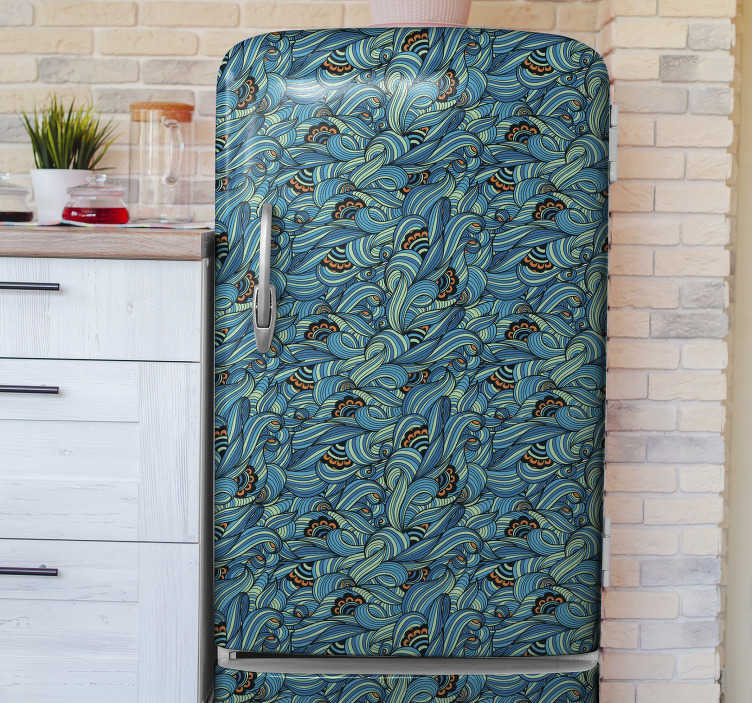 TenStickers. Paisley flower pattern fridge wrap. Decorative fridge sticker design of a paisley flower pattern to wrap the whole surface.Chose it in the size that best fit your fridge.