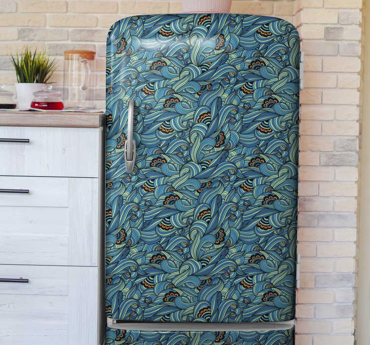 TenVinilo. Vinilo para heladera patrón de flores grises. Diseño de vinilo decorativo para refrigerador de un patrón de flores de para envolver toda la superficie. Elija el tamaño que mejor se adapte a su refrigerador.