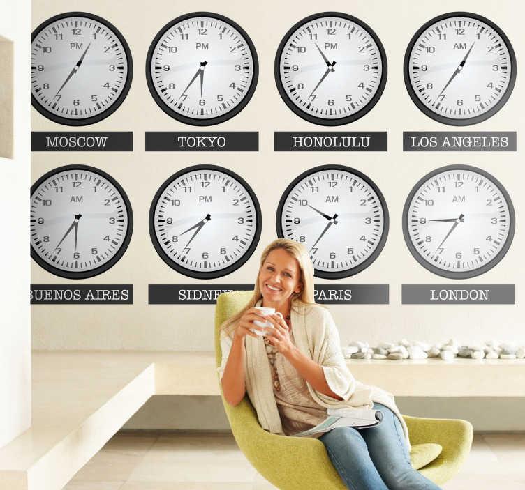 TenVinilo. Vinilo decorativo horarios mundo. Colección de adhesivos de diferentes relojes con las horas de distintas ciudades alrededor del planeta. Paris, Londres, Nueva York, Buenos Aires...