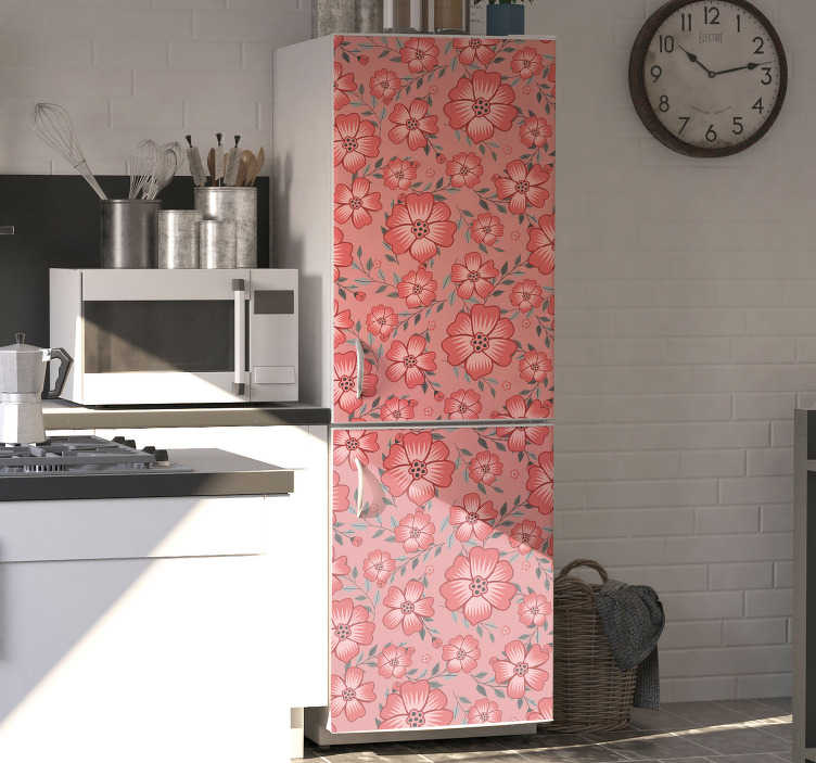 TenStickers. Pink daisy flower fridge wrap. Adhesive fridge wrap sticker with the design of pink daisy flowers. Buy it in the size that fit the surface for the product.