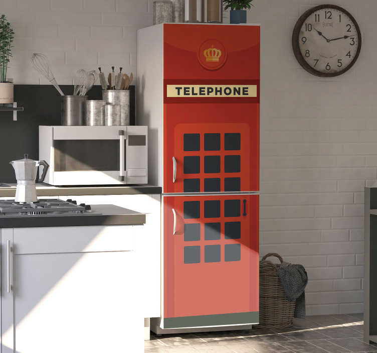 TenStickers. Red UK Telephone Box fridge wrap. Decorate the fridge surface with the design of an old UK telephone box fridge decal . We make it in customisation to fit any surface to apply it.