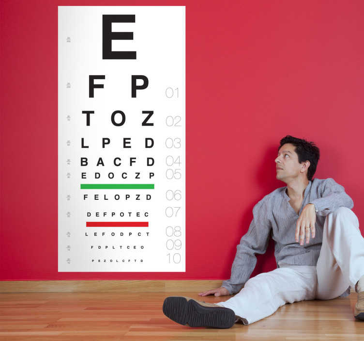 TenStickers. Eye Test Sticker. A classic sticker that can be used at opticians. Great to decorate your office and test your customers eyesight!