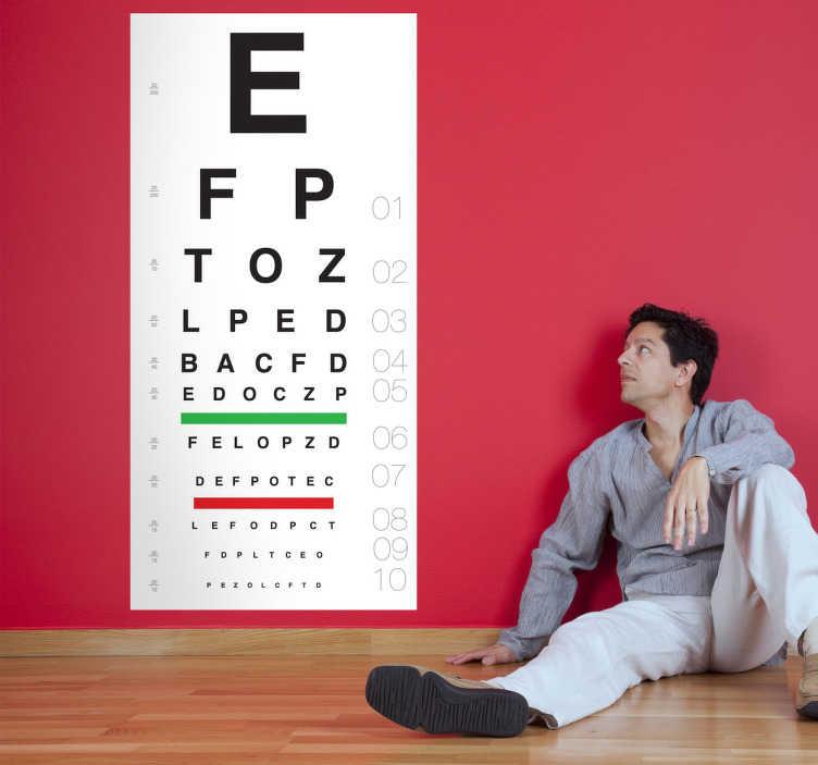 TenVinilo. Vinilo decorativo test visual óptica. Adhesivo con el clásico cartel del oftalmólogo para comprobar que el paciente tiene o no buena vista. ¡Pon a prueba a la gente de tu casa o a tus invitados!