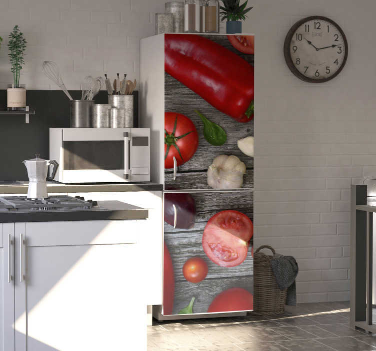 TenStickers. vegetables fridge wrap. Thanks to this wonderful vegetables fridge sticker  it will be possible for you to improve drastically the aspect of your kitchen!