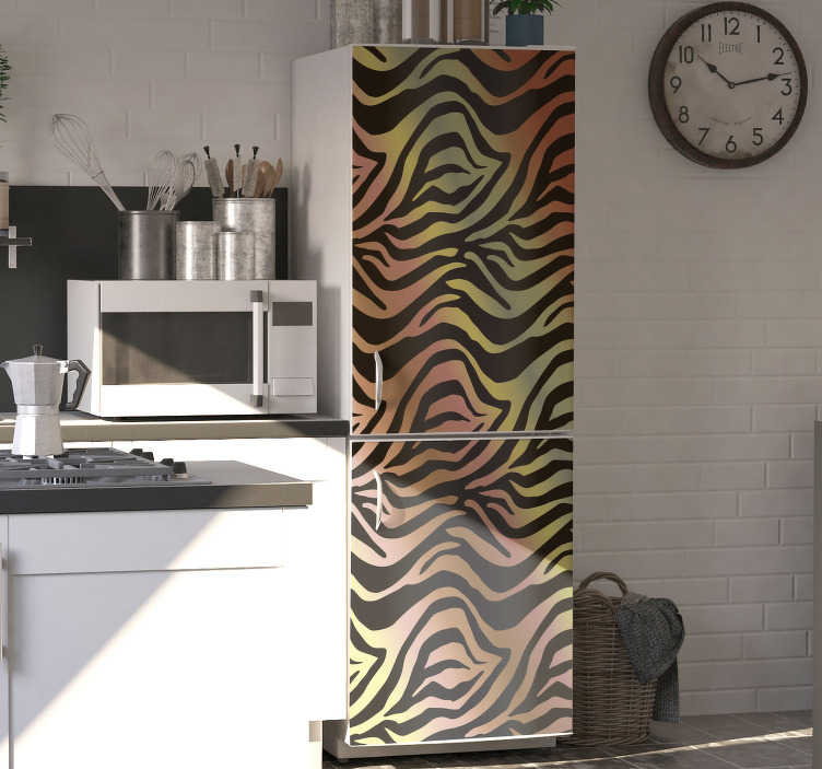 TenStickers. vintage zebra fridge wrap. This fabulous vintage zebra fridge sticker will change your kitchen so much that you will want to spend all your time in this room!